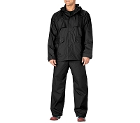 ROTHCO BLACK  2-PC PVC COATED NYLON RAINSUIT